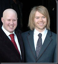 Little Britain star Matt Lucas, left, with his long-term partner TV producer Kevin McGee after their wedding ceremony held at private members' club Home House in central London.