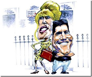Simon Cowell and Joanna Lumley cartoon